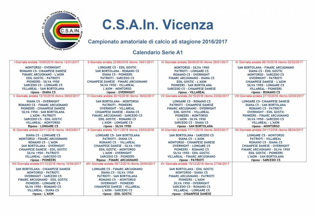 Calendario Vicenza.Calendario Ufficiale Serie A1